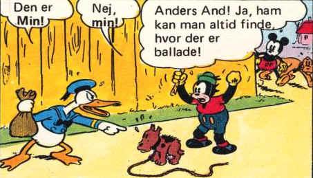 Anders And skændes med en fyr om en hvalp, Mickey Mouse dukker op