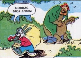 Bror Kanin går forbi Bror Bjørn med en sæk.
